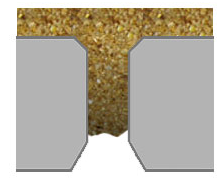 a close-up cross section of a hole for making feed pellets